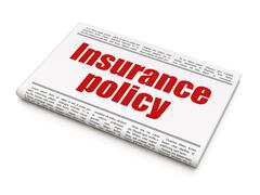 Insurance concept: newspaper headline Insurance Policy Stock Illustration