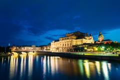 Night View Of Illuminated Stockholm Royal Opera, Sweden - stock photo