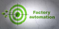 Manufacuring concept: target and Factory Automation on wall background - stock illustration