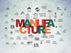 Manufacuring concept: Manufacture on Digital Data Paper background - stock illustration