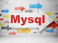 Programming concept: arrow with MySQL on grunge wall background - stock illustration