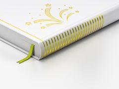 Entertainment, concept: closed book, Fireworks on white background - stock illustration