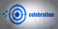 Entertainment, concept: target and Celebration on wall background - stock illustration