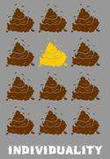 Individuality Poster. Gold turd among brown shit. Social Poster. dejecta  fec Stock Illustration