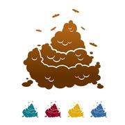 Shit icon flat style. Brown turd and fly. Offensive piece of crap. Color fece Stock Illustration