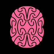 Abstract brain. Pink Brains on black background Stock Illustration