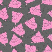 Pink Turd seamless pattern. Pile of shit ornament. Poop texture. piece of exc - stock illustration