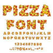Pizza font. Letters dough. Food Alphabet. Fast food ABC. Italian food. fresh  - stock illustration