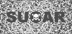 Sugar white death. Skull and text on background of sugar grains Stock Illustration