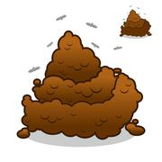 Shit and flies. Poop. Pile of Crap on white background. Turd isolated. Brown  Stock Illustration