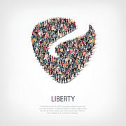 liberty people shape vector - stock illustration