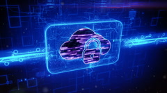 Locked cloud icon on abstract blue background Stock Footage