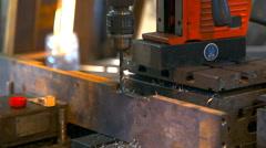 Metal drilling closeup in metal workshop - stock footage