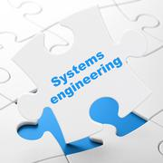 Science concept: Systems Engineering on puzzle background - stock illustration