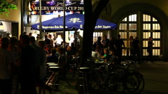 Establishing shot of Oktoberfest in Germany at night. - stock footage