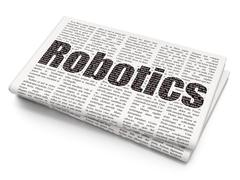 Science concept: Robotics on Newspaper background Stock Illustration