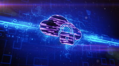 Locked cloud icon on abstract blue background - stock footage
