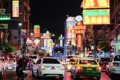 Yaowarat Road Traffic at night of chinatown Bangkok, Stock Photos