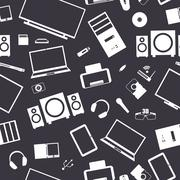 Seamless background from digital devices, vector illustration. - stock illustration