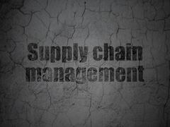 Marketing concept: Supply Chain Management on grunge wall background - stock illustration