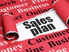 Advertising concept: black text Sales Plan under the piece of  torn paper - stock illustration