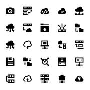 Data Storage, Server and Transfer Icons Set Stock Illustration