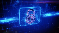 Padlock icon on abstract blue background Stock Footage