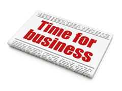 Time concept: newspaper headline Time for Business Stock Illustration