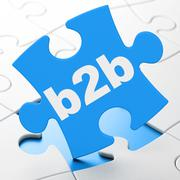 Business concept: B2b on puzzle background - stock illustration