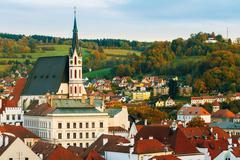 St. Vitus Church and cityscape Cesky Krumlov, Czech republic - stock photo