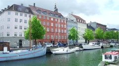Boats on the canal in Copenhagen Stock Footage