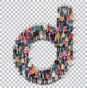 group  people  shape letter D vector Transparency - stock illustration