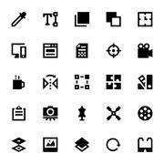 Black Graphic Design Icons Set Stock Illustration