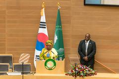 Korea's President visits African Union Commission Stock Photos