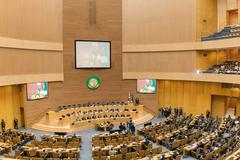 Korea's President visits African Union Commission - stock photo