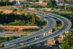 Motion Cars On Freeway In Spain, Europe Stock Photos