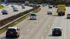 time lapse of busy and fast car traffic at Autobahn in Germany - stock footage