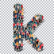 group  people  shape letter K vector Transparency - stock illustration