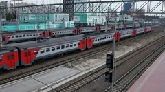 Suburban train is leaving the railway station at  NOVOSIBIRSK, RUSSIA. Stock Footage