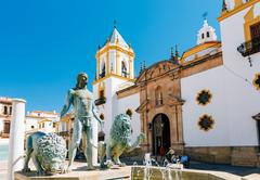 Plaza Del Socorro Church In Ronda, Spain. Old Town Cityscape Stock Photos