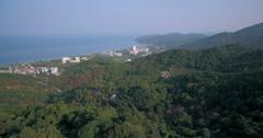 Drone Aerial Tilt Shot of Karon Beach and Town Phuket Stock Footage