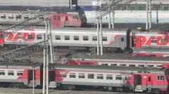 Trains at the railway station at NOVOSIBIRSK, RUSSIA. - stock footage
