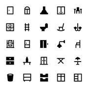 Icons Set of Furniture Stock Illustration