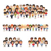 Three Group of People Stock Illustration