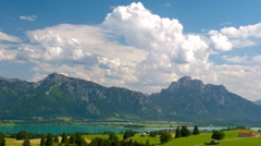 Time lapse of moving clouds over beautiful scene in Bavaria Stock Footage