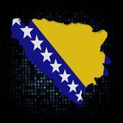 Bosnia map flag on hex code illustration - stock illustration