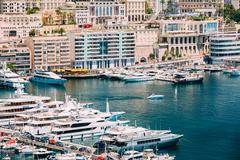 Yachts moored at town quay In Monaco, Monte Carlo - stock photo