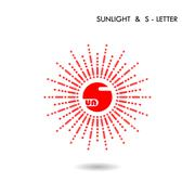 Red circle sign and Sun icon.Sunlight sign.Creative S-letter icon abstract lo - stock illustration