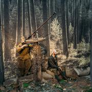 Guerrilla aims to anti-tank rifle In The Belarusian Museum Of Th - stock photo