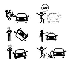 Set of car accident icon in silhouette style Stock Illustration